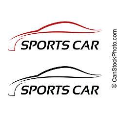 Kalligraphisches Sportwagen-Logo.