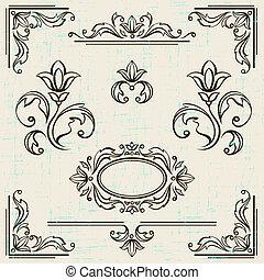 Kalliraphische Design-Elemente und die Seite der Dekorationsrahmen.