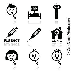 Kalt, Grippe, kranke Menschen Vektor Ikonen.