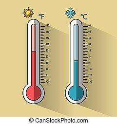 Kalte und heiße Thermometertemperatur.