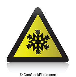 kalte , warnung, dreieckig, zeichen