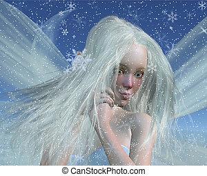 Kaltes Winterfeenporträt