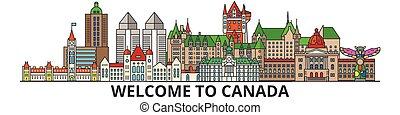 Kanada skizziert Skyline, kanadische flache dünne Linien Icons, Wahrzeichen, Illustrationen. Kanada Cityscape, kanadische Reisestadt-Vektorbanner. Urban Silhouette