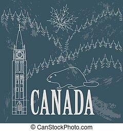 Kanadas Wahrzeichen. Retro-Stil