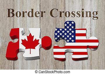 Kanadier überqueren die amerikanische Grenze.