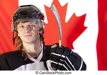 kanadier, aus, eis, spieler, fahne, hockey