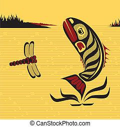Kanadische nordwestliche Kunst, Vektorfisch.