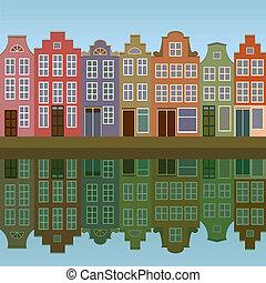 kanal, häusser, amsterdam