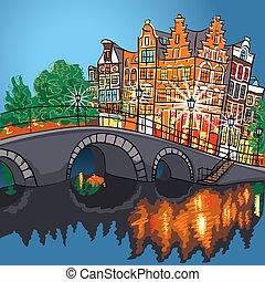 kanal, nacht, amsterdam, ansicht, vektor, stadtbrücke