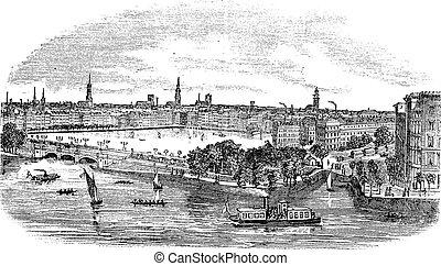 Kanal und Gebäude in Hamburg, Deutsches Jahrgangsgravur