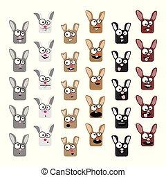 Kaninchen-Emoticons bereit.