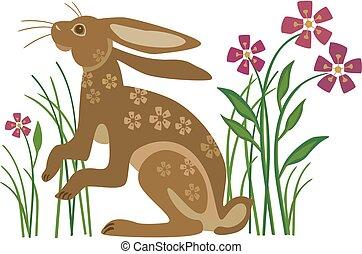 Kaninchen mit Blumen.