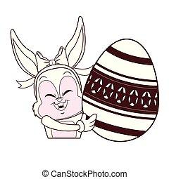 Kaninchen mit Ostereier.