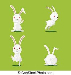 Kaninchen süßer Zeichensatz Vektor.