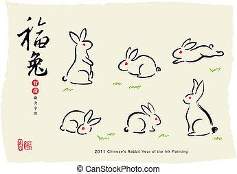 Kaninchen-Tinte-Gemälde