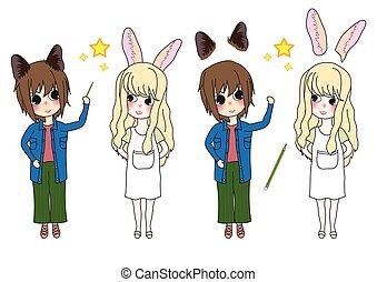 Kaninchen und Katzenmädchen schauen auf und zeigen auf Star.