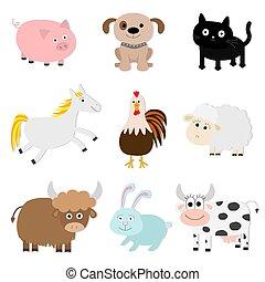 kanninchen, tier, design, set., kuh, schiff, hund, weißes, bauernhof, style., stier, schwein, wohnung, katz, hahn, isolated., baby- pferd, collection., hintergrund