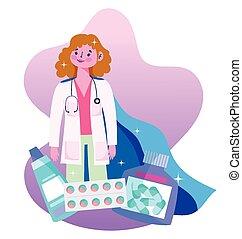 kap, medikation, zeichen, held, arzt, kapsel, weibliche , dank, pillen, doktoren, sie