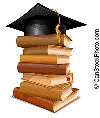 kappe, buecher, stapel, studienabschluss