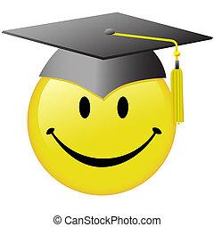 kappe, taste, smiley, studienabschluss, staffeln, gesicht, glücklich