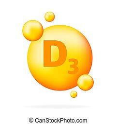 kapsel, d3., tropfen, niacin, vitamin, icon., pille