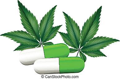kapsel, marihuana