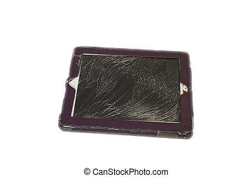 kaputte , begriff, weißes, tablette, freigestellt, hintergrund, schirm, smarphone, schaden, edv