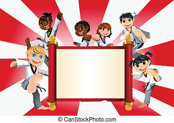 karate, kinder, banner