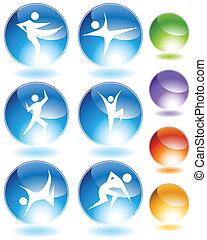 Karate-Kristall-Icon-Set