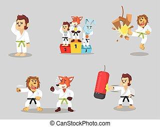 karate, satz, karikatur, tier