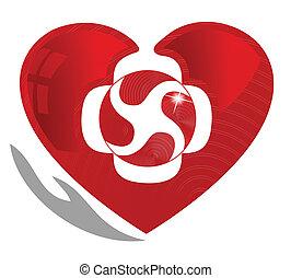 Kardiologie und gesundes Herzsymbol