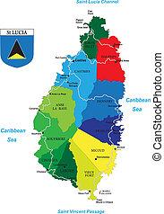 karibisch, lucia, insel, heilige, landkarte