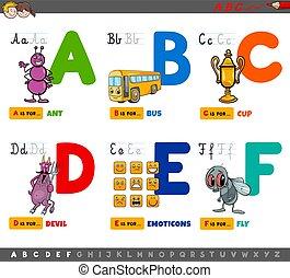 karikatur, briefe, alphabet, erzieherisch, kinder