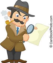 karikatur, detektiv, mann