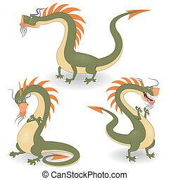 karikatur, drachen