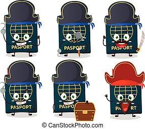 karikatur, emoticons, piraten, zeichen, reisepaß, verschieden