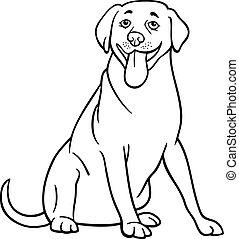 karikatur, färbung, labradorhundapportierhund, hund
