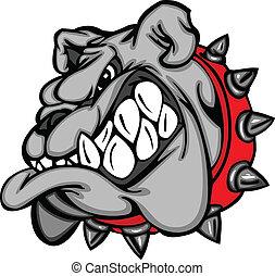 karikatur, gesicht, maskottchen, bulldogge