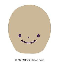 karikatur, halloween, glücklich, feier, lächeln schädel