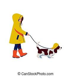 karikatur, hat., gelber , wohnung, basset, regen, südwesten, jagdhund, m�dchen, regenmantel, weißes, gehen, hat, hund, freigestellt, stil, abbildung, gummi, vektor, stiefeln, hintergrund