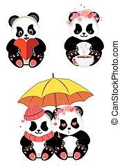 karikatur, herz, panda