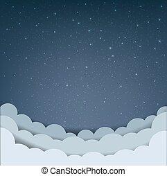 karikatur, himmel-wolke, sternen