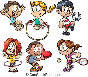 karikatur, kinder, spielende
