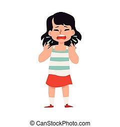karikatur, oder, m�dchen, kind, kalte , grippe, niesen, krankheit, husten