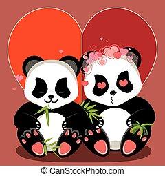 karikatur, panda, herz