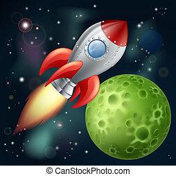karikatur, rakete, raum