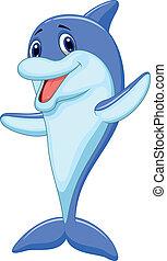 karikatur, reizend, delfin, winkende