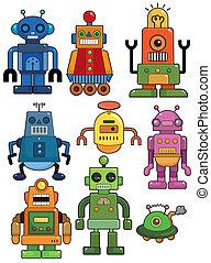 karikatur, roboter, satz, ikone