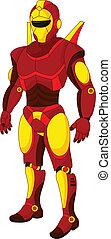 karikatur, rotes , humanoid, roboter