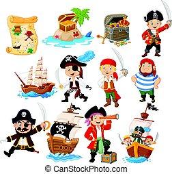 karikatur, sammlung, pirat